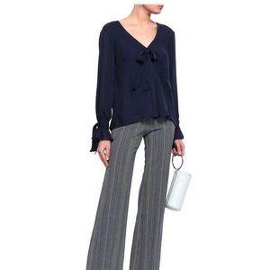 Bow-detailed silk-chiffon blouse Navy